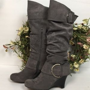 PESARO Suede Fur Lined Wedge Boots